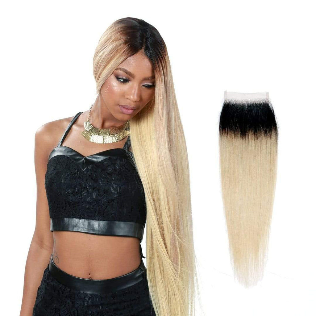 Brooklyn Hair 9A Ombre Blonde Straight  4x4 Transparent (HD) Lace Closure - Bundle Hair - Brooklyn Hair