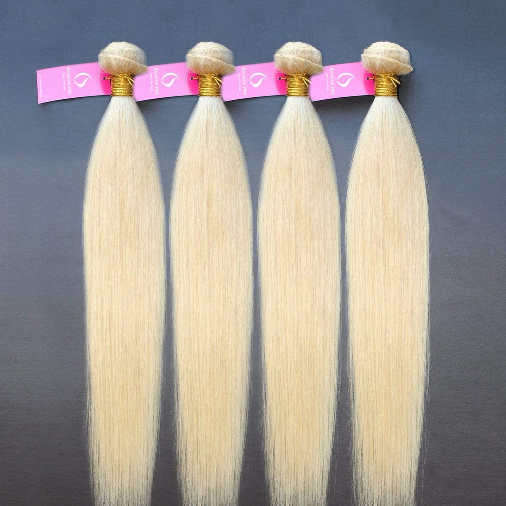 Brooklyn Hair 9A Platinum Blonde #613 Hair Straight 4 Bundle Deals - Bundle Hair - Brooklyn Hair