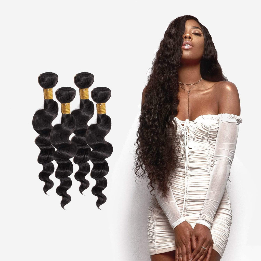 Brooklyn Hair 9A Grade 100% Unprocessed Virgin Indian Human Hair Extension Brazilian Loose Wave Bundle Hair Weave 4 Bundle Deals - Bundle Hair - Brooklyn Hair