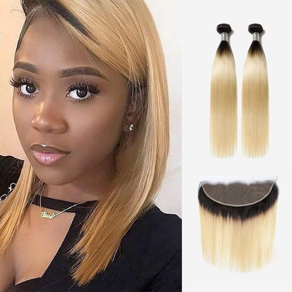 Brooklyn Hair 9A Ombre Blonde Bundle Hair / 2 Bundles with Lace Frontal Look - Bundle Hair - Brooklyn Hair