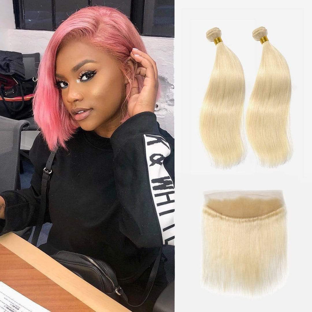 Brooklyn Hair 9A Platinum Blonde #613 Straight /  2 Bundles with 13x4 Lace Frontal Look - Bundle Hair - Brooklyn Hair