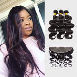 Brooklyn Hair Extension 9A Unprocessed 100% Human Hair Long Body Wave Hairstyle Weave / 3 Bundles with 13x4 Lace Frontal Deal - Bundle Hair - Brooklyn Hair