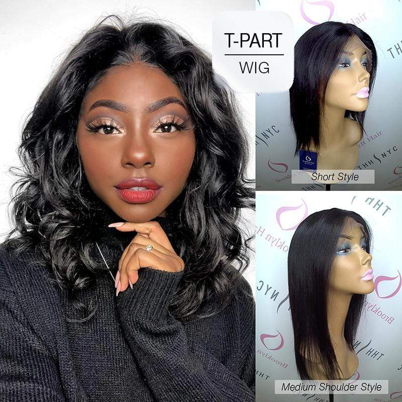 "Brooklyn Hair Brooklyn Hair 100% Virgin Brazilian Human Hair Lace Part Wig - Brazilian Straight Medium Shoulder Length Style 14-16"" with Deep Invisible Lace Center Part"