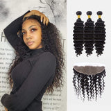 Brooklyn Hair 11A Deep Wave / 3 Bundles with 13x4 Lace Frontal Look by Theodora - Bundle Hair - Brooklyn Hair