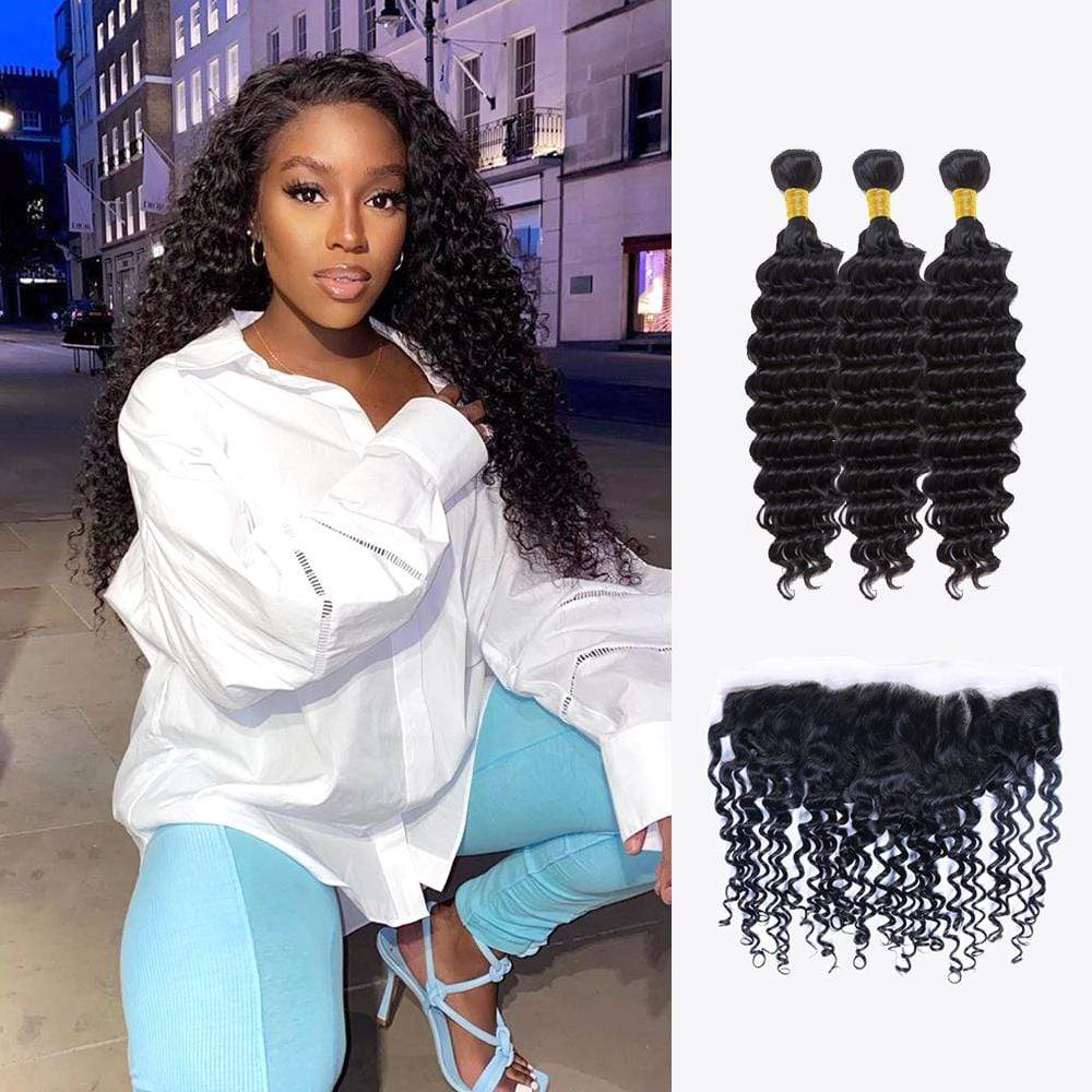 Brooklyn Hair 11A Deep Wave / 3 Bundles with 13x4 Lace Frontal Look - Bundle Hair - Brooklyn Hair