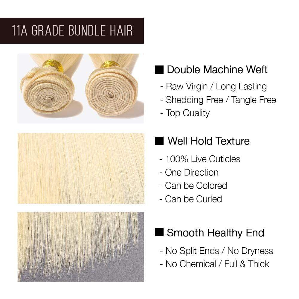 Brooklyn Hair 11A Raw Virgin Platinum Blonde #613 Straight 3 Bundle Deals - Bundle Hair - Brooklyn Hair