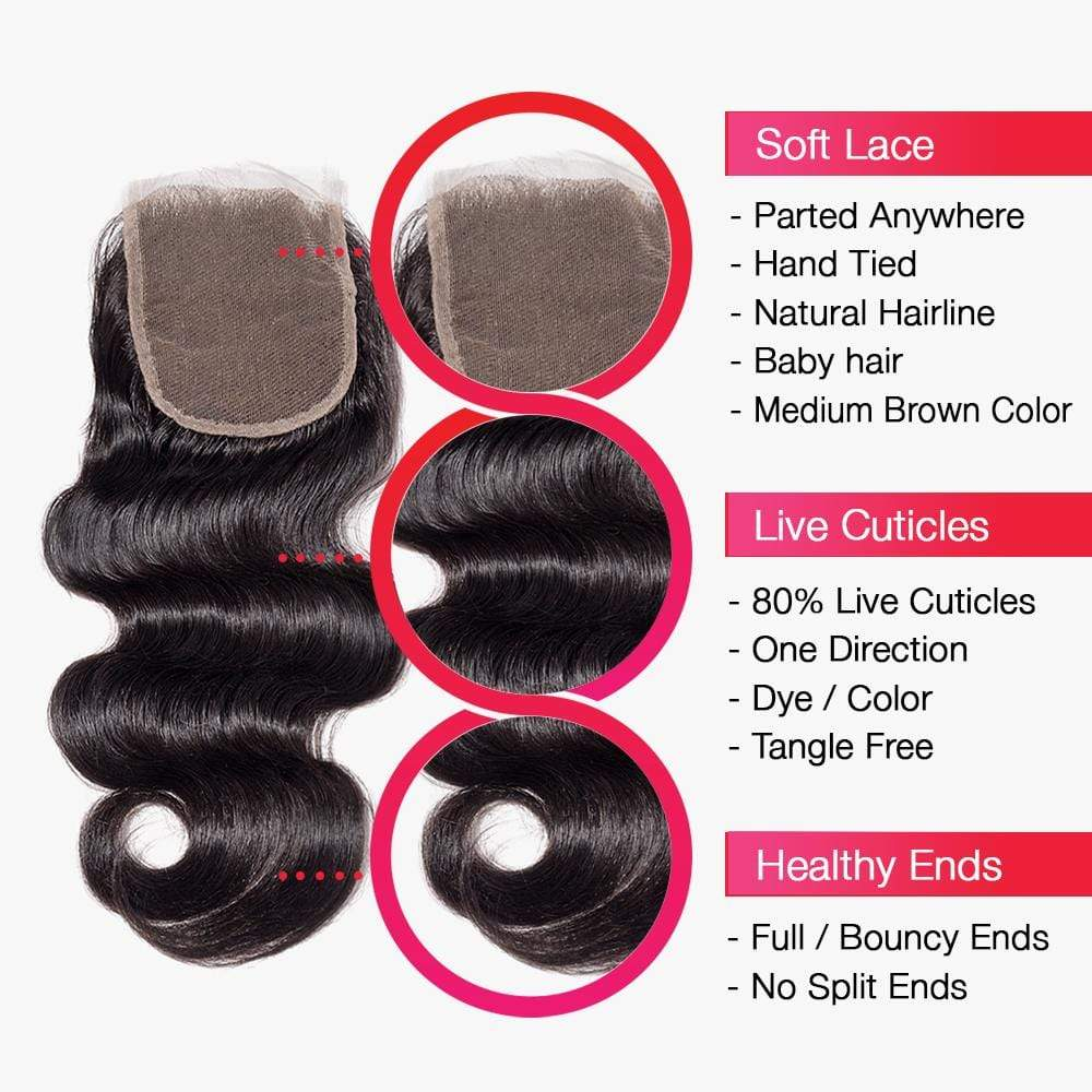 Brooklyn Hair 7A Body Wave Bundle Hair / 3 Bundles with 4x4 Lace Closure Look - Bundle Hair - Brooklyn Hair