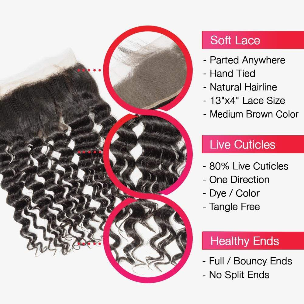 Brooklyn Hair 7A Deep Wave 13x4 Lace Frontal - Bundle Hair - Brooklyn Hair