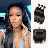 Brooklyn Hair Brooklyn Hair 7A Straight / 3 Bundles with 13x4 Lace Frontal Look