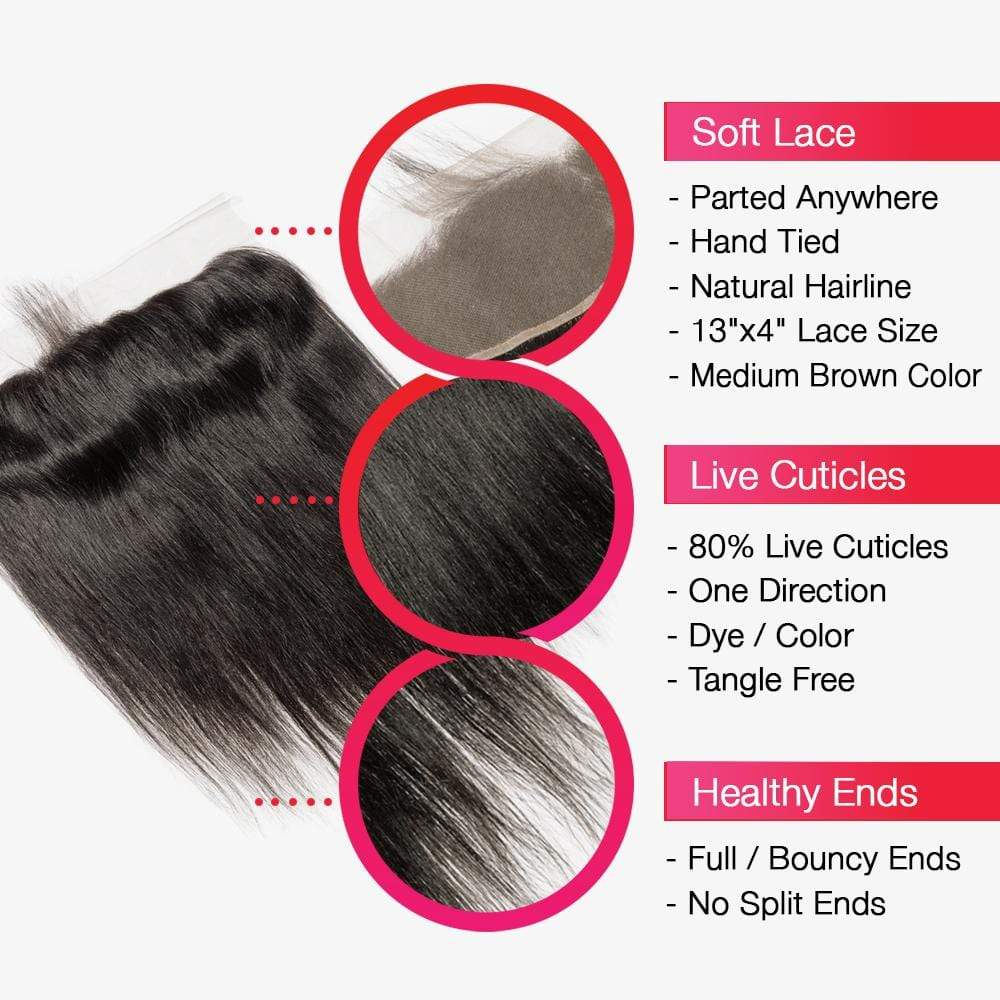 Brooklyn Hair 7A Straight Bundle Hair / 2 Bundles with 13x4 Lace Frontal - Brooklyn Hair