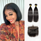Brooklyn Hair 7A Straight / 2 Bundles with 13x4 Lace Frontal - Brooklyn Hair
