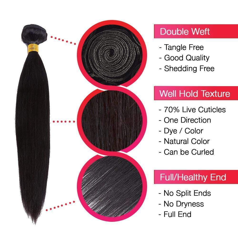 Brooklyn Hair 7A Straight / 2 Bundles with 4x4 Lace Closure Look - Bundle Hair - Brooklyn Hair