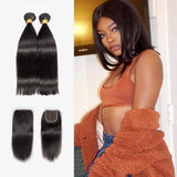 Brooklyn Hair 7A Straight / 2 Bundles with 4x4 Lace Closure Blunt Cut Look - Bundle Hair - Brooklyn Hair