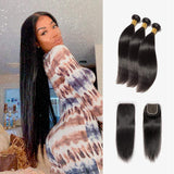 Brooklyn Hair 7A Straight / 3 Bundles with 4x4 Lace Closure Look by Chanell - Bundle Hair - Brooklyn Hair