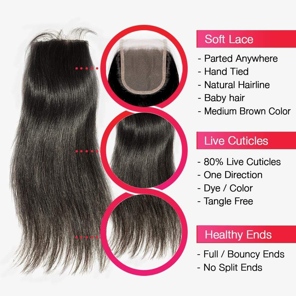 Brooklyn Hair 7A Straight / 4 Bundles with 4x4 Lace Closure Look - Bundle Hair - Brooklyn Hair