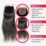 Brooklyn Hair 7A Virgin Straight / 3 Bundles with 4x4 Lace Closure Look by Pitt twins - Bundle Hair - Brooklyn Hair