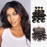 Brooklyn Hair 9A Body Wave / 3 Bundles with 13x4 Lace Frontal Look - Brooklyn Hair
