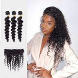 Brooklyn Hair 9A Loose Deep Wave / 3 Bundles with 13X4 Lace Frontal Look - Brooklyn Hair