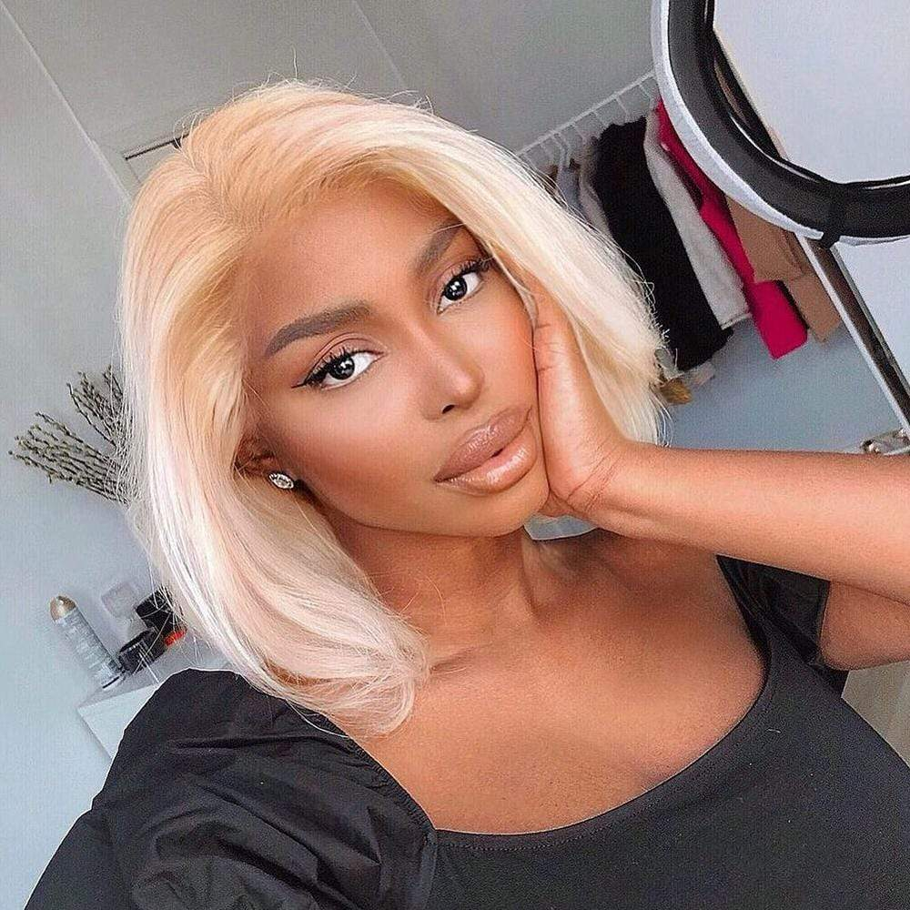 Brooklyn Hair 9A Platinum Blonde #613 Straight / 2 Bundles with 13x4 Lace Frontal Look - Brooklyn Hair