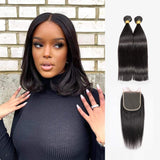 Brooklyn Hair Brooklyn Hair 9A Straight / 2 Bundle with 5x5 Lace Closure Look Natural Black