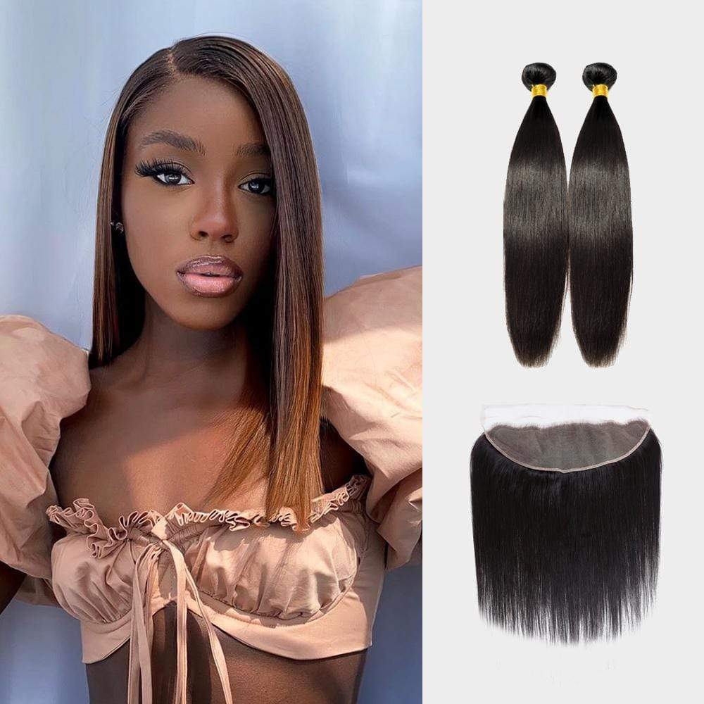 Brooklyn Hair 9A Straight / 2 Bundles with 13x4 Lace Frontal Look - Brooklyn Hair