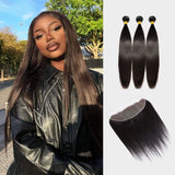 Brooklyn Hair 9A Straight / 3 Bundles with 13x4 Lace Frontal Look