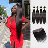 Brooklyn Hair 9A Straight / 4 Bundles with 13x4 Lace Frontal Look - Brooklyn Hair