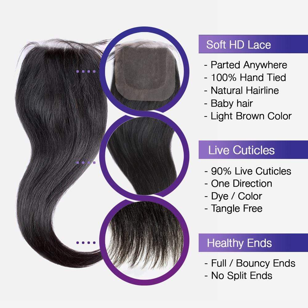 Brooklyn Hair 9A Straight / 2 Bundle with 4x4 Lace Closure Look - Bundle Hair - Brooklyn Hair