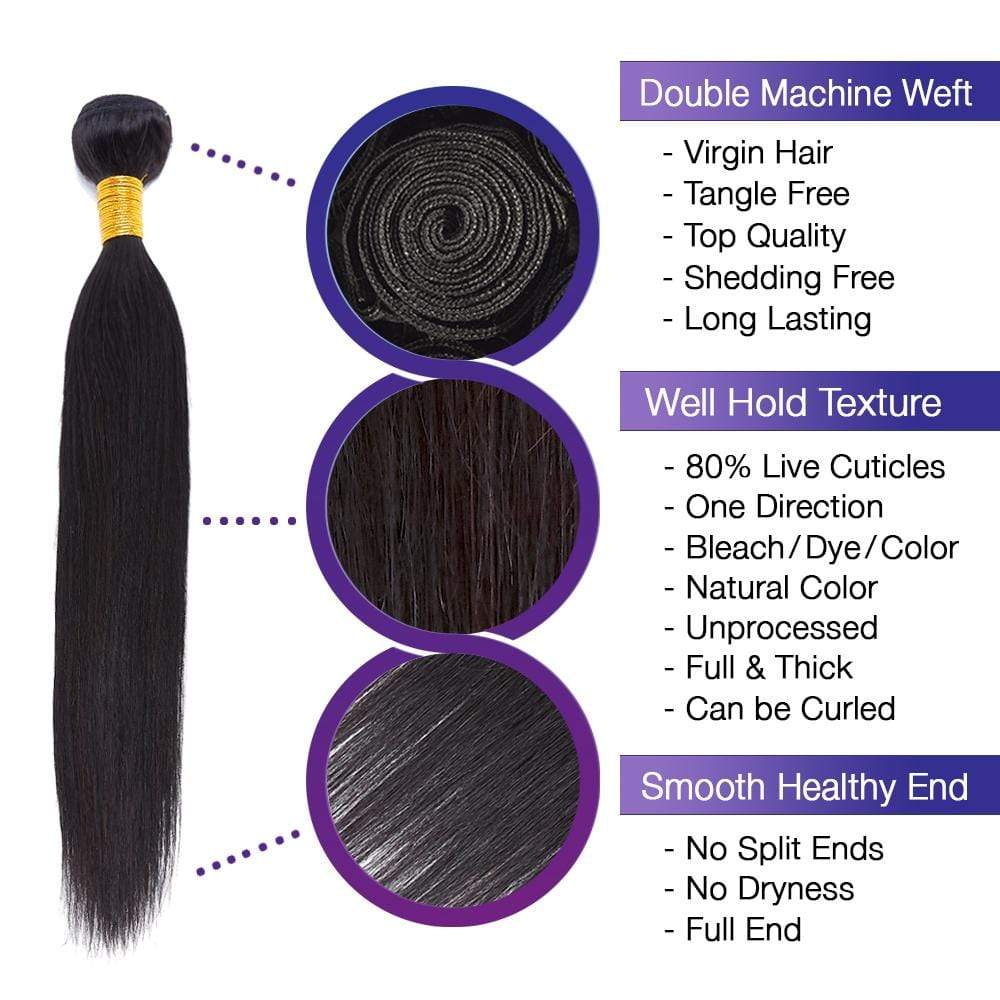 Brooklyn Hair 9A Straight / 3 Bundles Look - Bundle Hair - Brooklyn Hair
