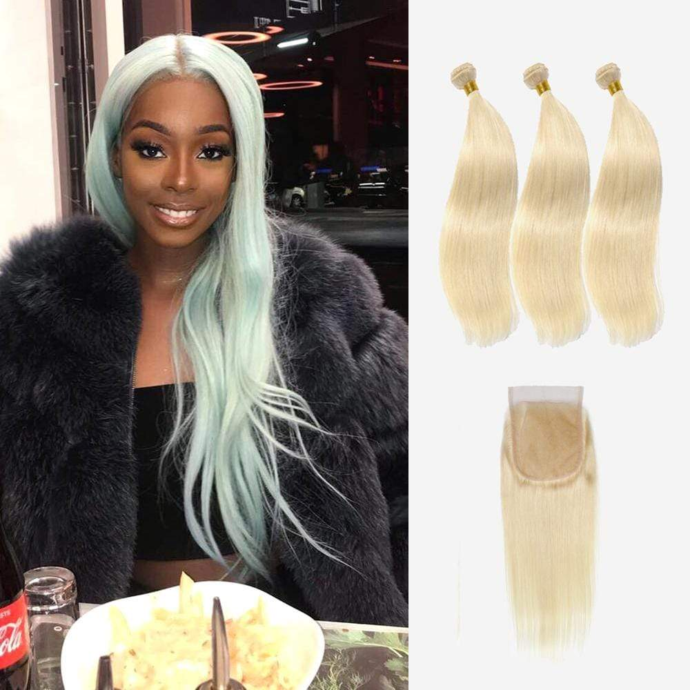 Brooklyn Hair 9A Platinum Blonde #613 Straight / 3 Bundles Hair with 4x4 Lace Closure Look - Brooklyn Hair
