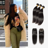 Brooklyn Hair 7A Straight / 3 Bundles with 4x4 Lace Closure Look by Theodora