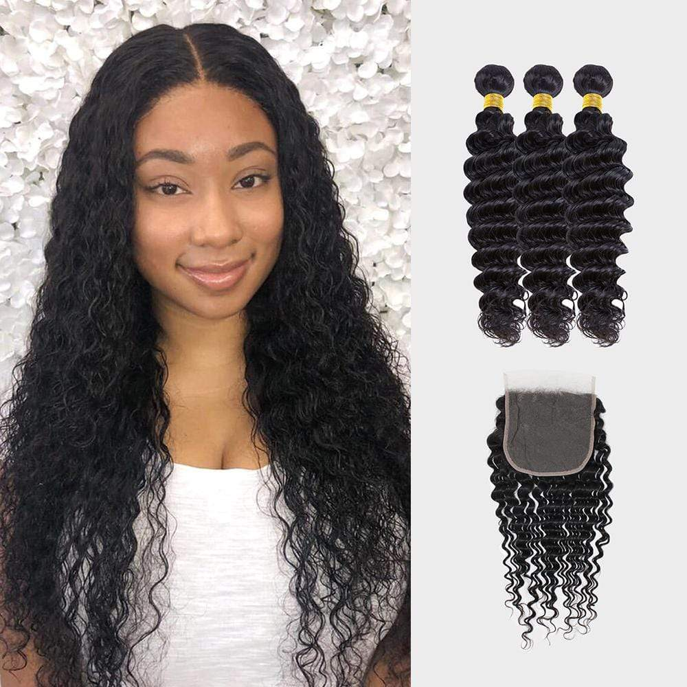 Brooklyn Hair 7A Deep Wave / 3 Bundles with 6x6 Lace Closure Look - Bundle Hair - Brooklyn Hair