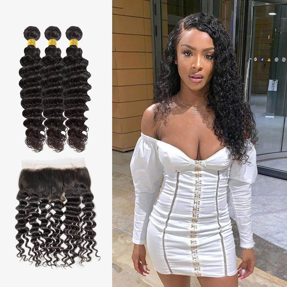 Brooklyn Hair 7A Deep Wave / 3 Bundles with 13x4 Lace Frontal Look - Bundle Hair - Brooklyn Hair