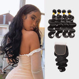 Brooklyn Hair 7A Body Wave / 4 Bundles with 6x6 Lace Closure Look - Bundle Hair - Brooklyn Hair