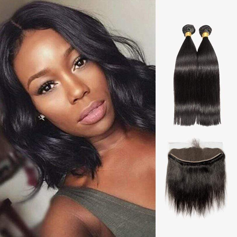 Brooklyn Hair 7A Straight / 2 Bundles with 13x4 Lace Frontal Look - Brooklyn Hair