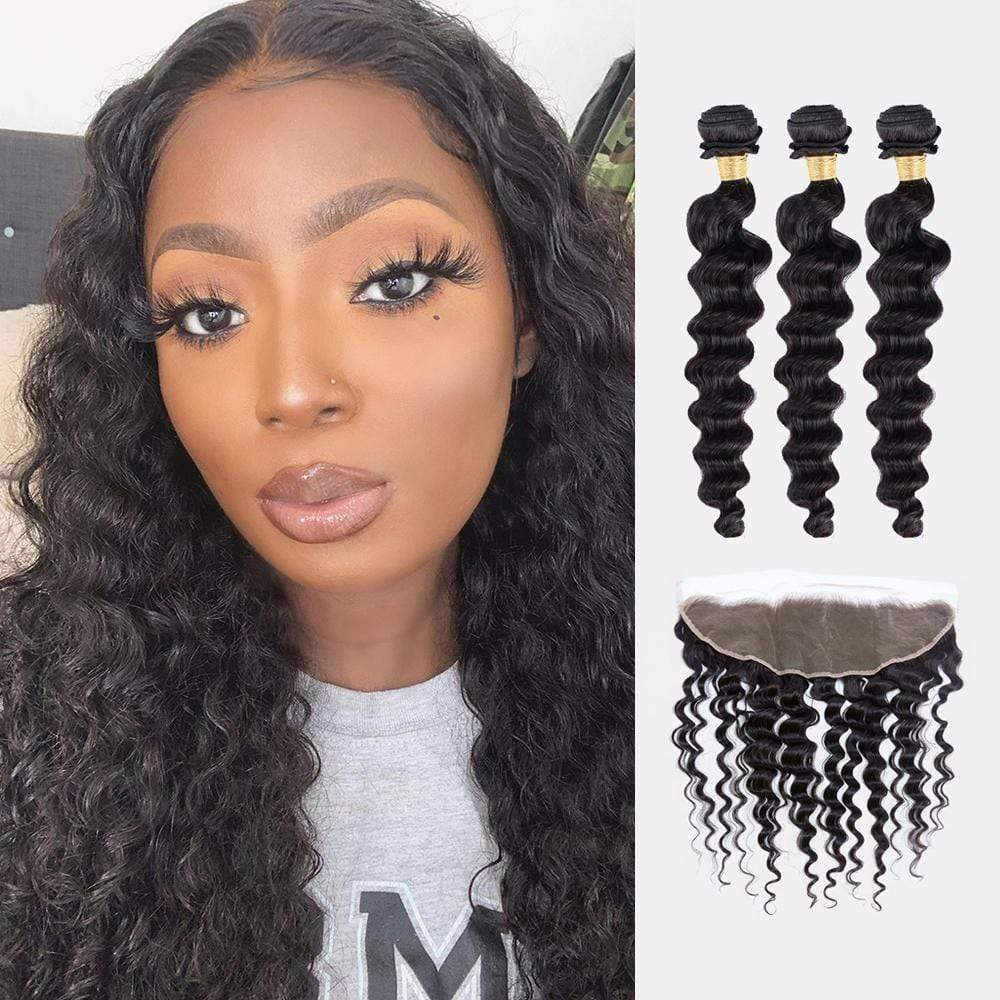 Brooklyn Hair 7A Deep Wave / 3 Bundles with 13x4 Lace Frontal Look - Brooklyn Hair
