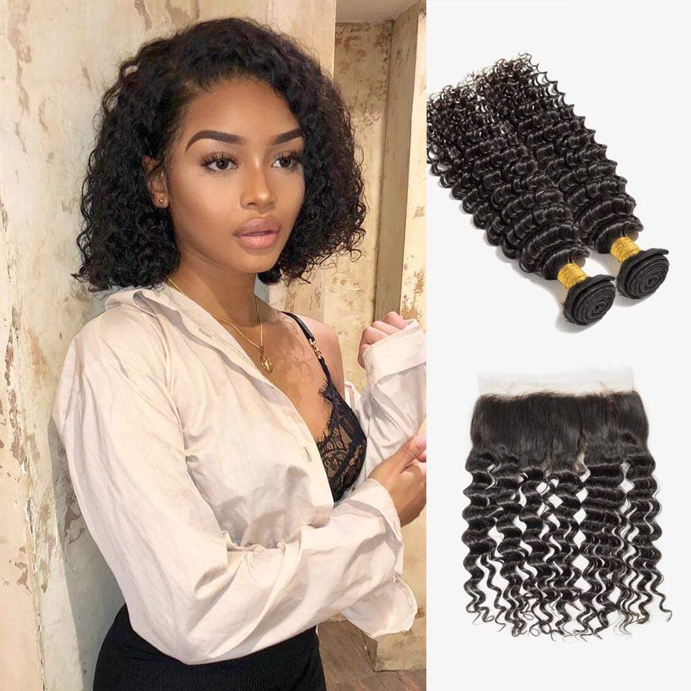 Brooklyn Hair 7A Deep Wave Bundle Hair / 2 Bundles with 13x4 Lace Frontal Deal Look - Bundle Hair - Brooklyn Hair