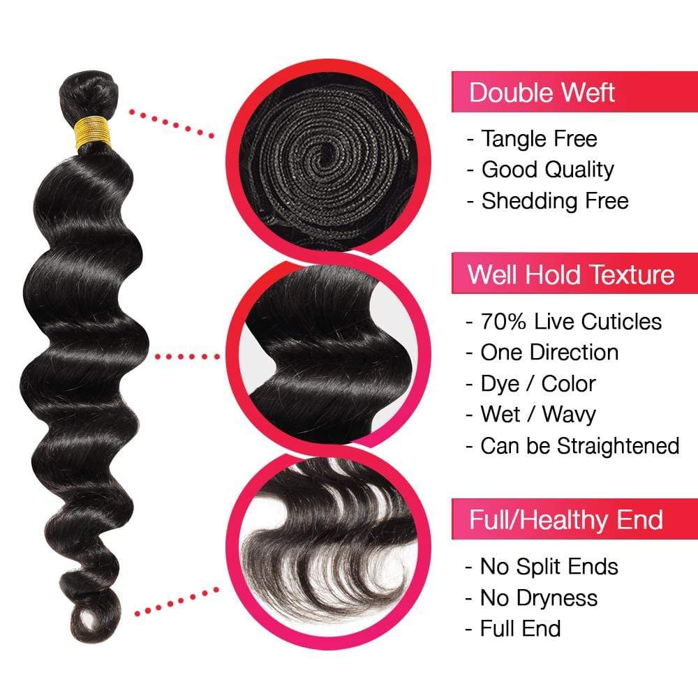 Brooklyn Hair 7A Loose Wave / 3 Bundles Ponytail Look - Bundle Hair - Brooklyn Hair