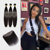 Brooklyn Hair 7A Straight / 3 Bundles with 13x4 Lace Frontal Look - Brooklyn Hair