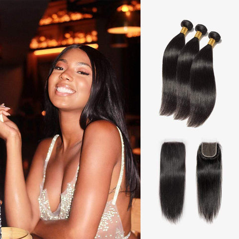 Brooklyn Hair Extension 7A Straight 100% Virgin Hair Long Straight Style Weave / 3 Bundles with 4x4 Lace Closure Deal by Tatianaa - Bundle Hair - Brooklyn Hair