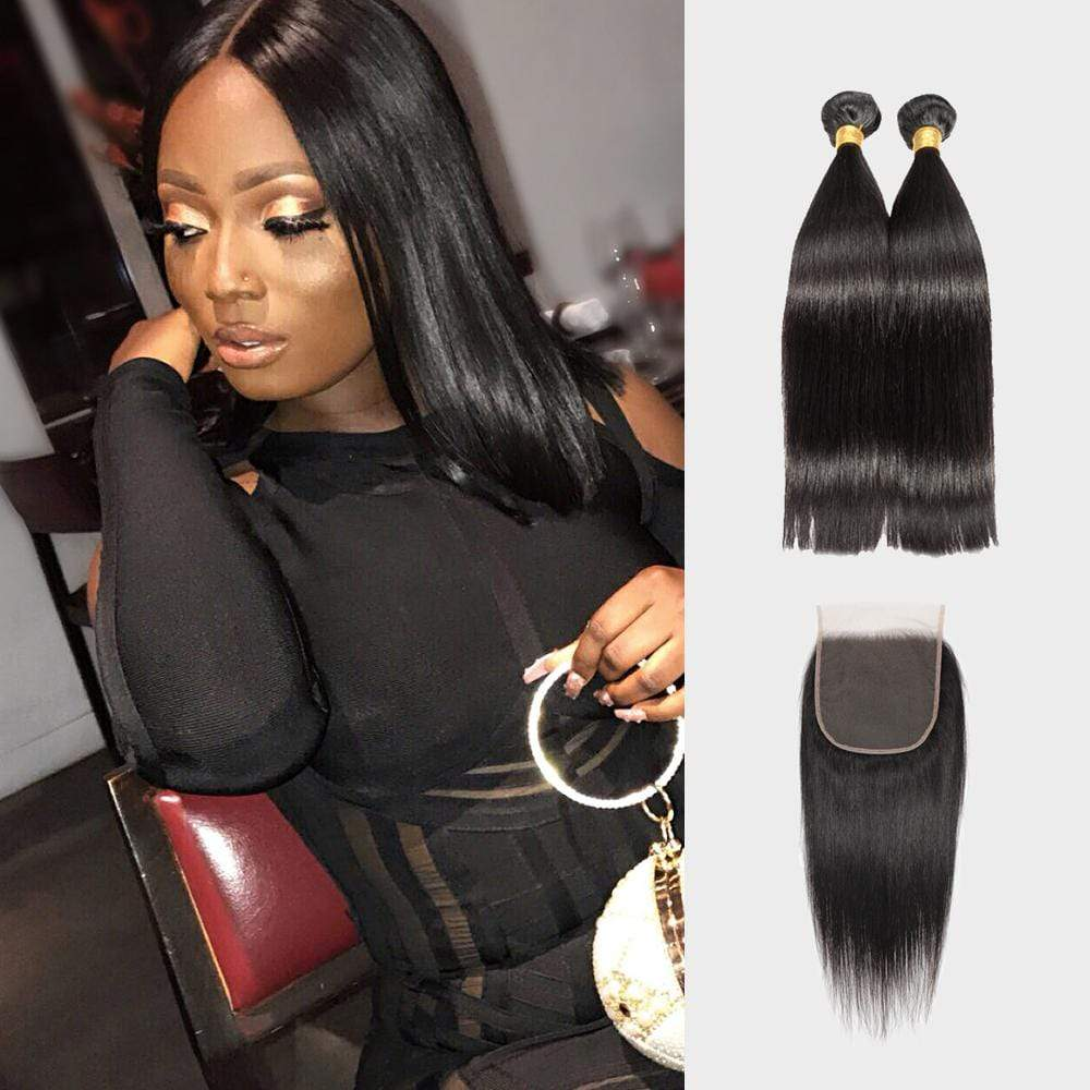 Brooklyn Hair 7A Straight / 2 Bundles with 6x6 Lace Closure Look - Bundle Hair - Brooklyn Hair