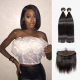 Brooklyn Hair 7A Straight Bundle Hair / 2 Bundles with 13x4 Lace Frontal Look - Bundle Hair - Brooklyn Hair