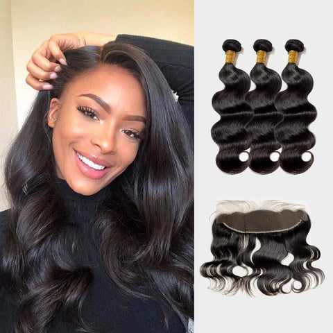 Brooklyn Hair Extension 9A Body Wave 100% Virgin Human Hair Bundle Hair Unprocessed Long Wavy Style Hair Weave / 3 Bundles with 13x4 Lace Frontal Deal - Bundle Hair - Brooklyn Hair