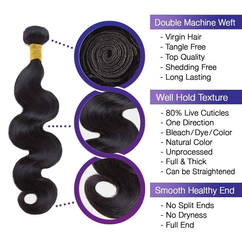 Brooklyn Hair 9A Body Wave / 3 Bundles Look - Bundle Hair - Brooklyn Hair
