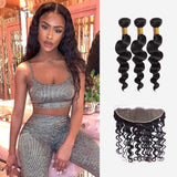 Brooklyn Hair 9A Loose Wave / 3 Bundles with 13X4 Frontal Look - Bundle Hair - Brooklyn Hair
