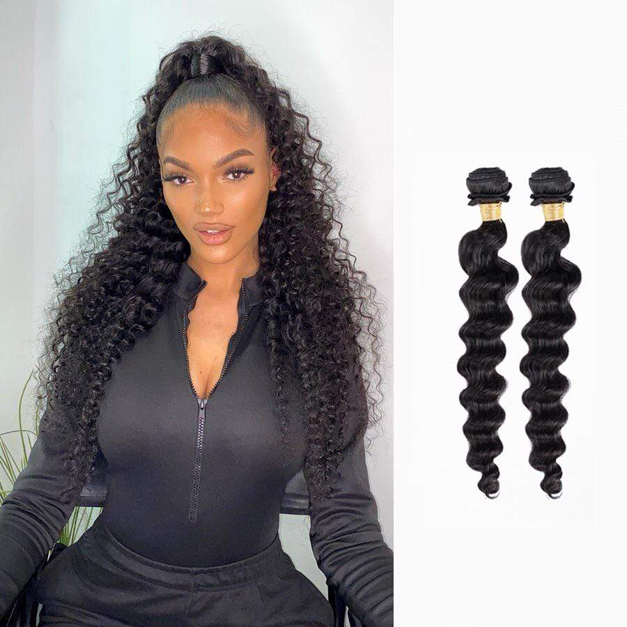 Brooklyn Hair 9A Loose Deep Wave / 2 Bundles Ponytail Look - Bundle Hair - Brooklyn Hair