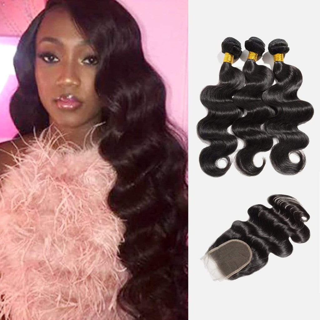 Brooklyn Hair 9A Body Wave / 3 Bundles with 4x4 Lace Closure Look - Brooklyn Hair