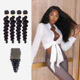 Brooklyn Hair 9A Loose Deep Wave / 4 Bundles with 4x4 Lace Closure Look by Tatiana - Brooklyn Hair