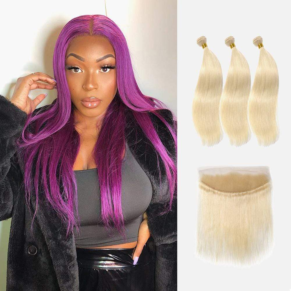 Brooklyn Hair 9A Platinum Blonde #613 Straight / 3 Bundles with 13x4 Lace Frontal Look - Bundle Hair - Brooklyn Hair
