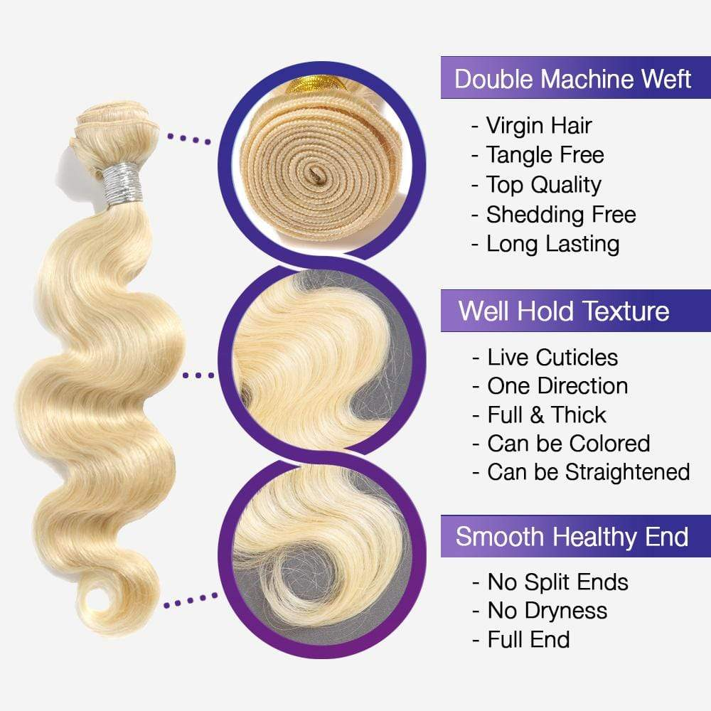 Brooklyn Hair Extension 9A Platinum 613 Body Wave Blonde Brazilian 100% Human Hair Long Style Weave / 3 Bundles with 4x4 Lace Closure Deal - Bundle Hair - Brooklyn Hair